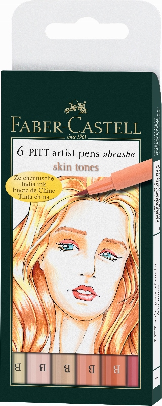 Pitt Artist Pen Brush Tuschestift, 6Er Etui, Light Skin